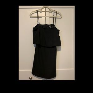 black mini dress off the shoulder